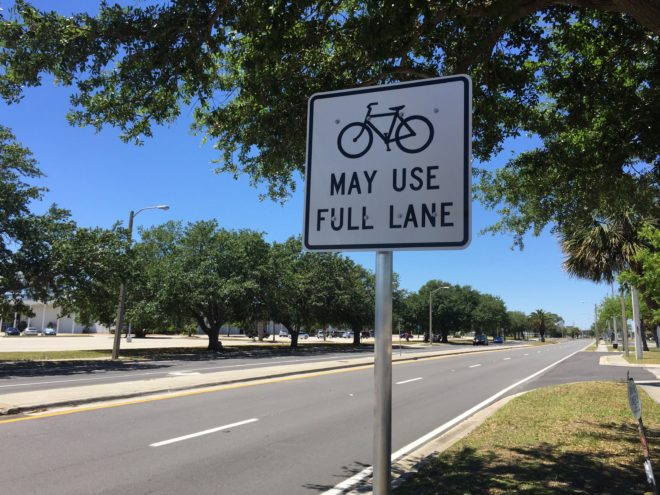 Instead of bike lanes, my city opted for bike signs